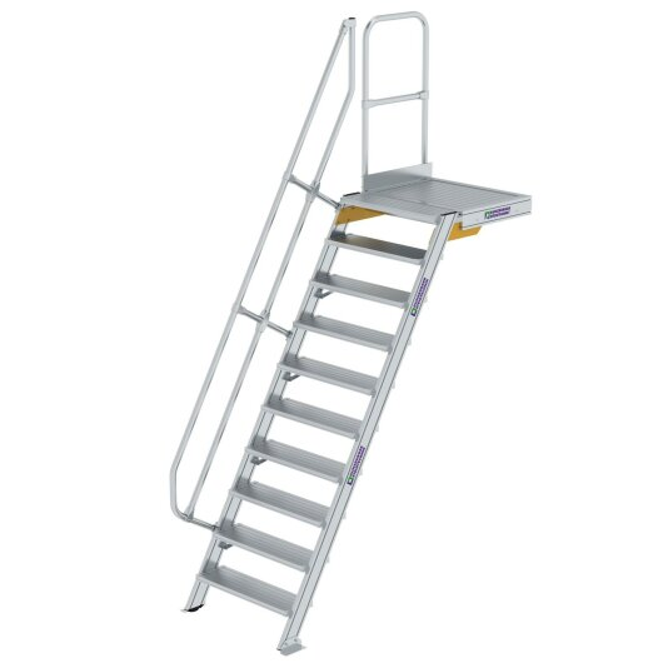 Treppe mit Plattform 60° Stufenbreite 800 mm 10 Stufen Aluminium geriffelt