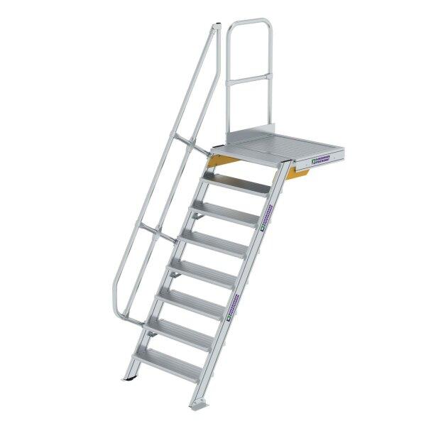 Treppe mit Plattform 60° Stufenbreite 800 mm 8 Stufen Aluminium geriffelt