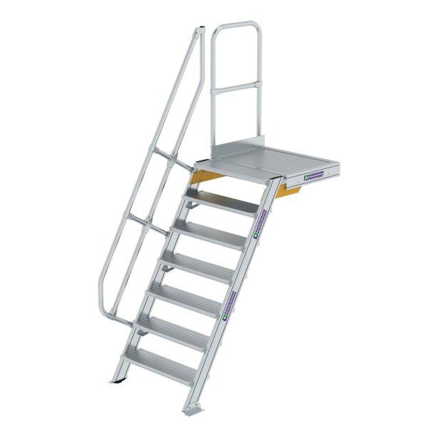 Treppe mit Plattform 60° Stufenbreite 800 mm 7 Stufen Aluminium geriffelt