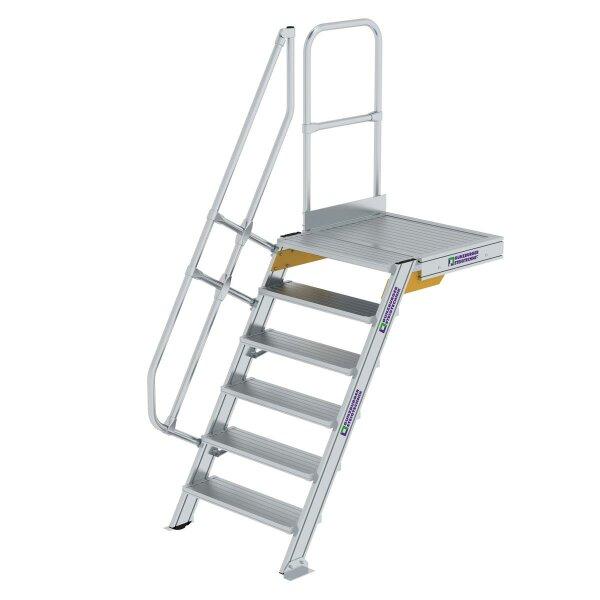 Treppe mit Plattform 60° Stufenbreite 800 mm 6 Stufen Aluminium geriffelt
