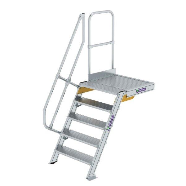 Treppe mit Plattform 60° Stufenbreite 800 mm 5 Stufen Aluminium geriffelt