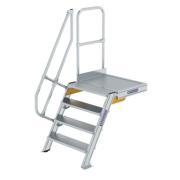 Treppe mit Plattform 60° Stufenbreite 800 mm 4 Stufen Aluminium geriffelt