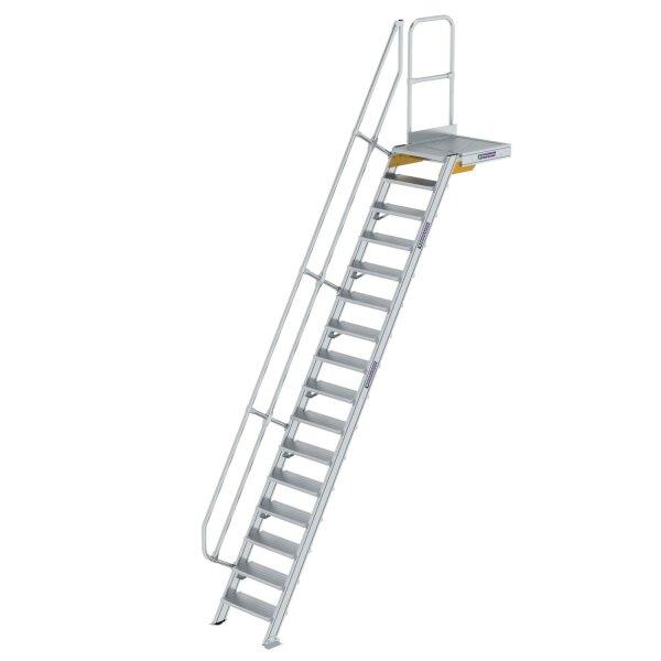Treppe mit Plattform 60° Stufenbreite 600 mm 16 Stufen Aluminium geriffelt