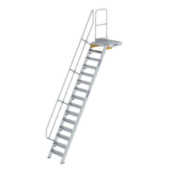 Treppe mit Plattform 60° Stufenbreite 600 mm 15 Stufen Aluminium geriffelt