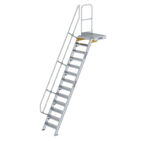 Treppe mit Plattform 60° Stufenbreite 600 mm 13 Stufen Aluminium geriffelt