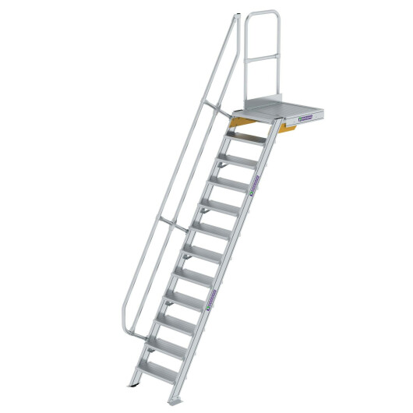 Treppe mit Plattform 60° Stufenbreite 600 mm 12 Stufen Aluminium geriffelt