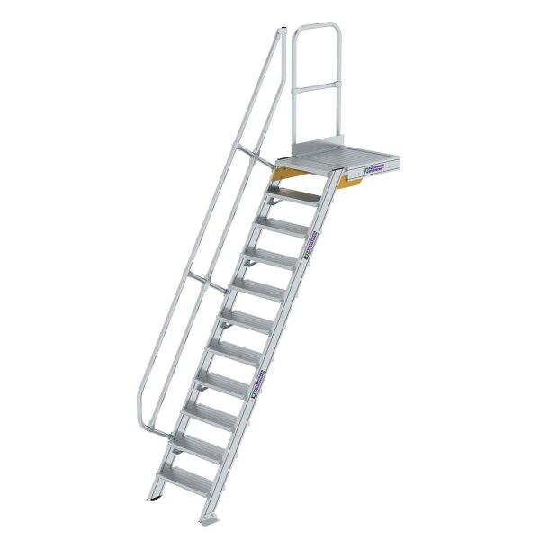 Treppe mit Plattform 60° Stufenbreite 600 mm 11 Stufen Aluminium geriffelt