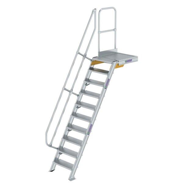 Treppe mit Plattform 60° Stufenbreite 600 mm 10 Stufen Aluminium geriffelt