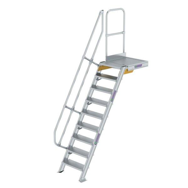 Treppe mit Plattform 60° Stufenbreite 600 mm 9 Stufen Aluminium geriffelt