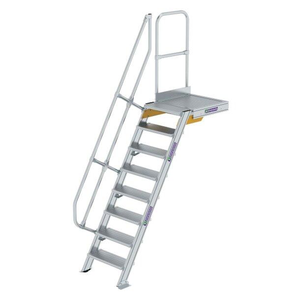 Treppe mit Plattform 60° Stufenbreite 600 mm 8 Stufen  Aluminium geriffelt