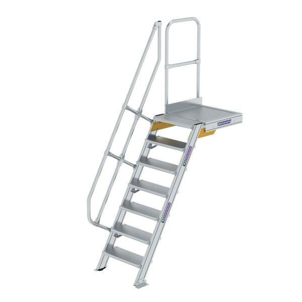 Treppe mit Plattform 60° Stufenbreite 600 mm 7 Stufen Aluminium geriffelt