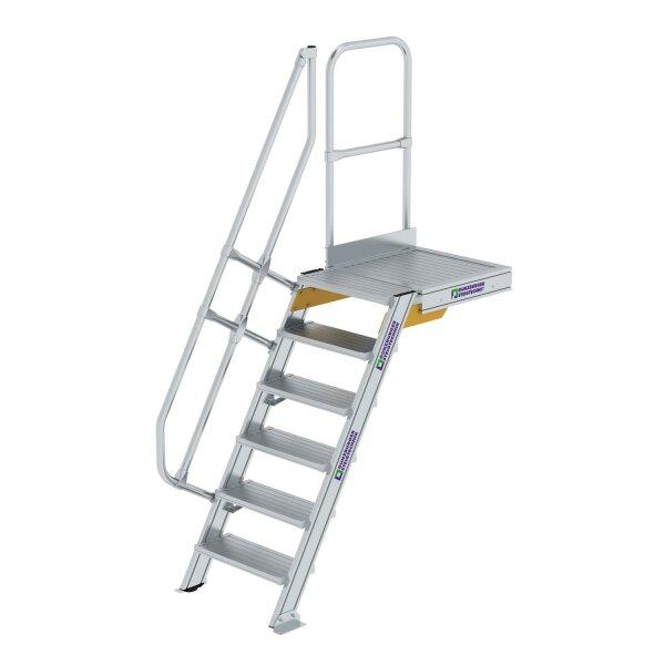 Treppe mit Plattform 60° Stufenbreite 600 mm 6 Stufen Aluminium geriffelt