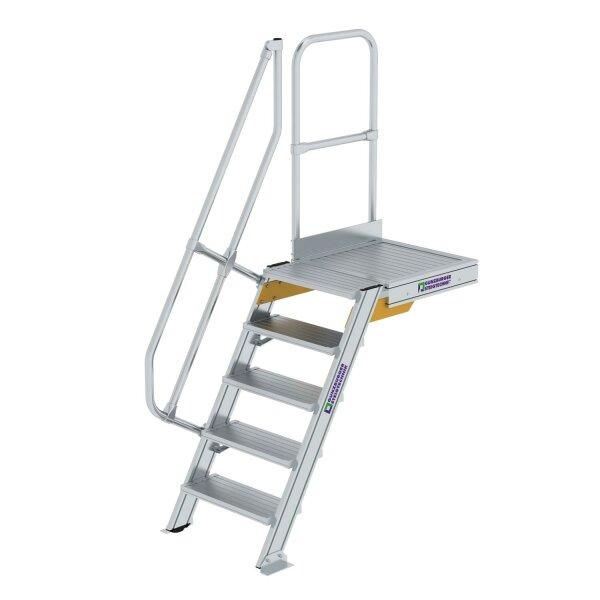 Treppe mit Plattform 60° Stufenbreite 600 mm 5 Stufen Aluminium geriffelt