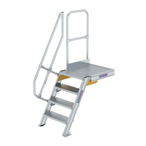 Treppe mit Plattform 60° Stufenbreite 600 mm 4 Stufen Aluminium geriffelt