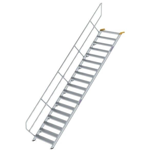 Treppe 45° Stufenbreite 1000 mm 18 Stufen Aluminium geriffelt