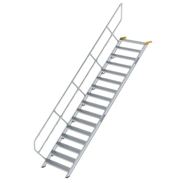 Treppe 45° Stufenbreite 1000 mm 16 Stufen Aluminium geriffelt