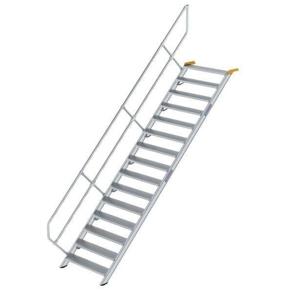 Treppe 45° Stufenbreite 1000 mm 15 Stufen Aluminium geriffelt