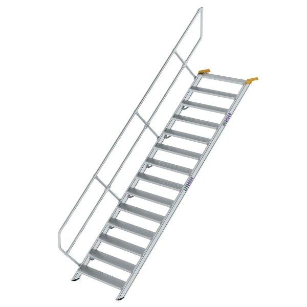 Treppe 45° Stufenbreite 1000 mm 14 Stufen Aluminium geriffelt