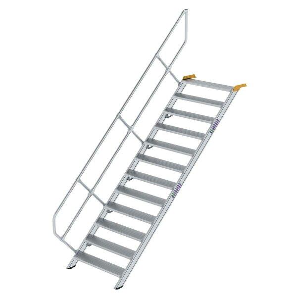 Treppe 45° Stufenbreite 1000 mm 12 Stufen Aluminium geriffelt