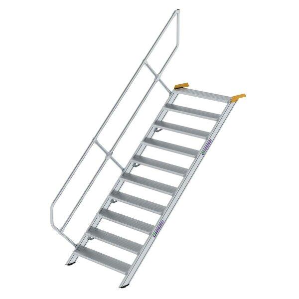 Treppe 45° Stufenbreite 1000 mm 10 Stufen Aluminium geriffelt