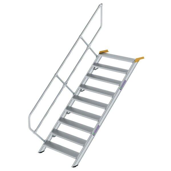 Treppe 45° Stufenbreite 1000 mm 9 Stufen Aluminium geriffelt