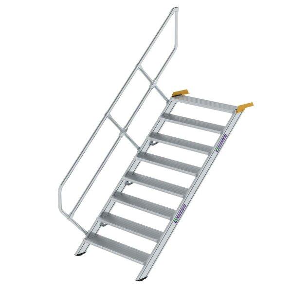 Treppe 45° Stufenbreite 1000 mm 8 Stufen Aluminium geriffelt