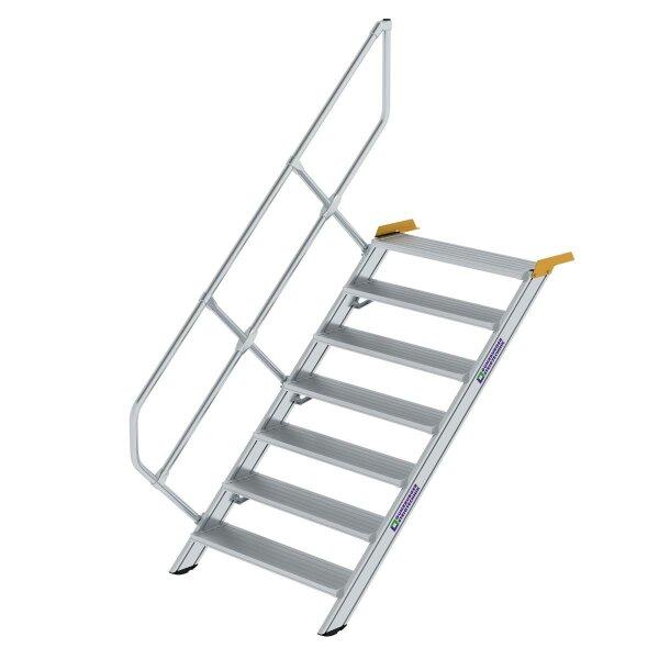 Treppe 45° Stufenbreite 1000 mm 7 Stufen Aluminium geriffelt