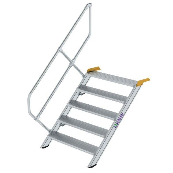Treppe 45° Stufenbreite 1000 mm 5 Stufen Aluminium geriffelt