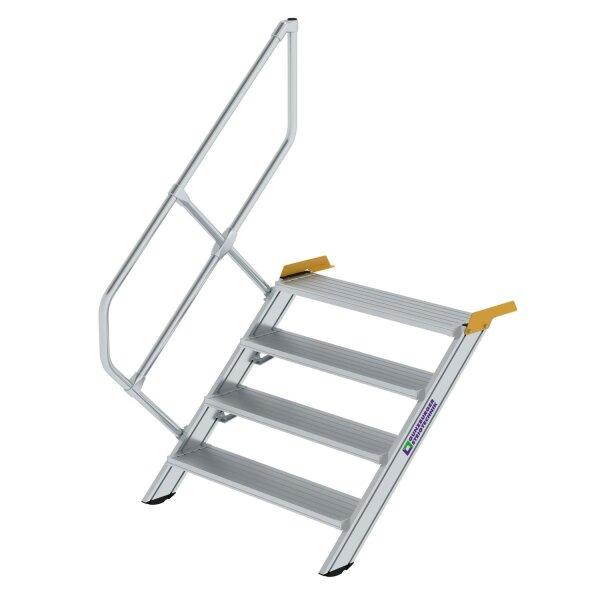 Treppe 45° Stufenbreite 1000 mm 4 Stufen Aluminium geriffelt