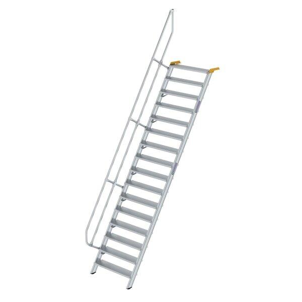 Treppe 60° Stufenbreite 1000 mm 16 Stufen Aluminium geriffelt