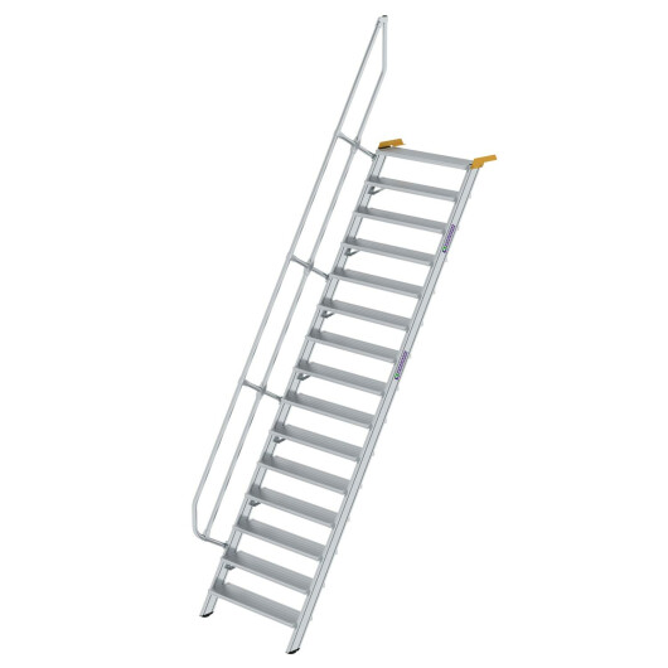 Treppe 60° Stufenbreite 1000 mm 15 Stufen Aluminium geriffelt