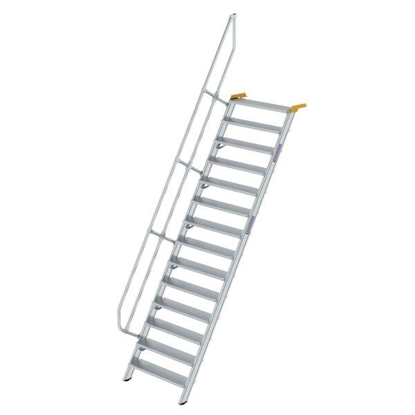 Treppe 60° Stufenbreite 1000 mm 14 Stufen Aluminium geriffelt
