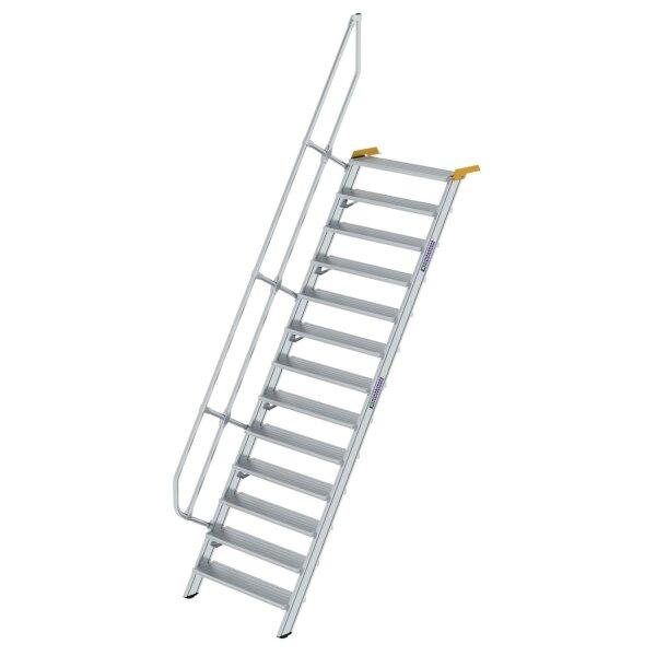 Treppe 60° Stufenbreite 1000 mm 13 Stufen Aluminium geriffelt
