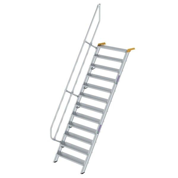 Treppe 60° Stufenbreite 1000 mm 12 Stufen Aluminium geriffelt