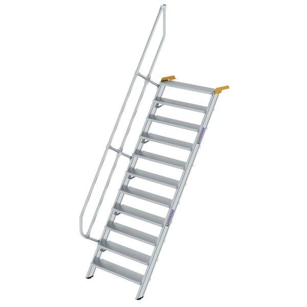 Treppe 60° Stufenbreite 1000 mm 11 Stufen Aluminium geriffelt