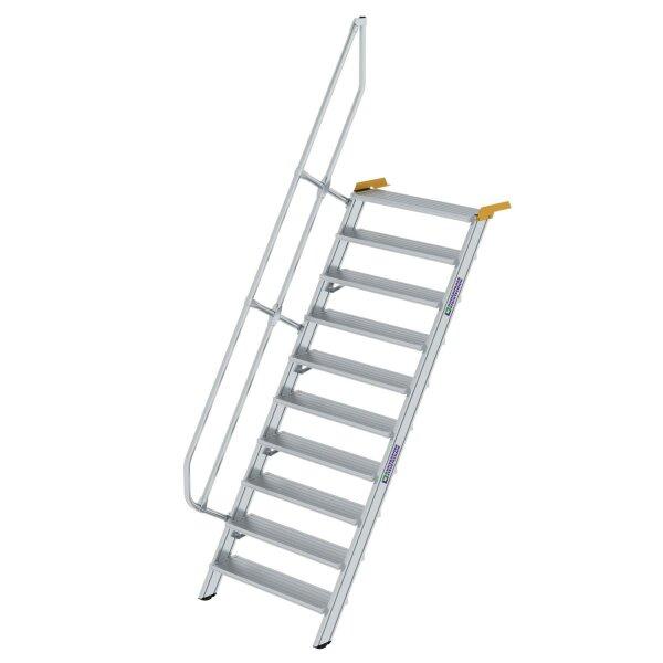 Treppe 60° Stufenbreite 1000 mm 10 Stufen Aluminium geriffelt