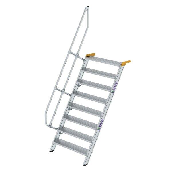 Treppe 60° Stufenbreite 1000 mm 8 Stufen Aluminium geriffelt