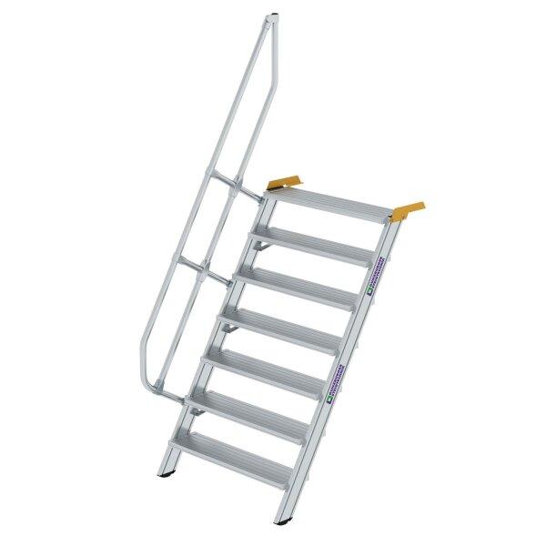 Treppe 60° Stufenbreite 1000 mm 7 Stufen Aluminium geriffelt