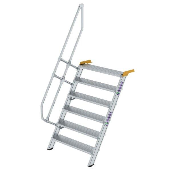 Treppe 60° Stufenbreite 1000 mm 6 Stufen Aluminium geriffelt