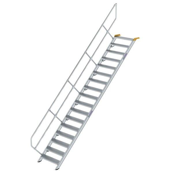 Treppe 45° Stufenbreite 800 mm 17 Stufen Aluminium geriffelt