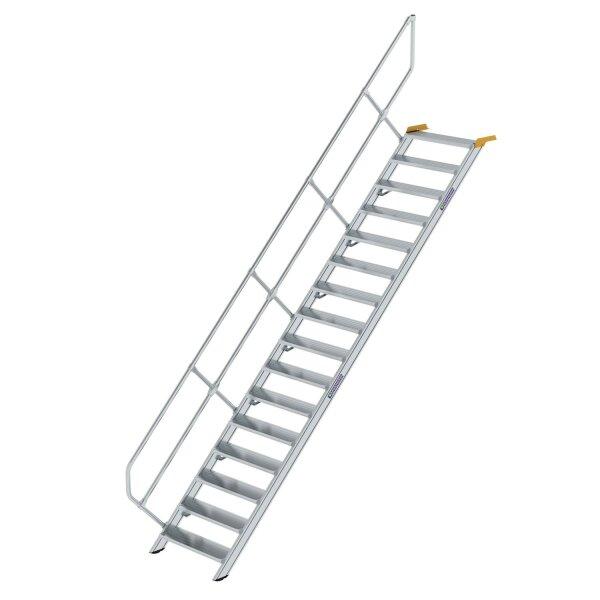 Treppe 45° Stufenbreite 800 mm 16 Stufen Aluminium geriffelt