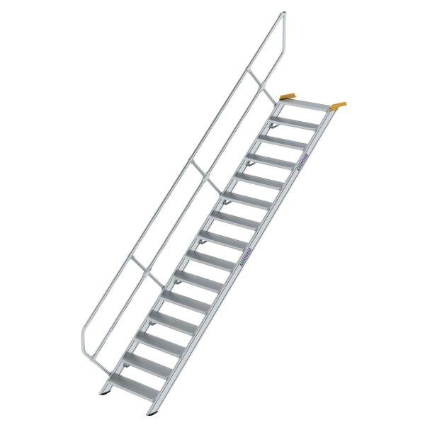 Treppe 45° Stufenbreite 800 mm 15 Stufen Aluminium geriffelt