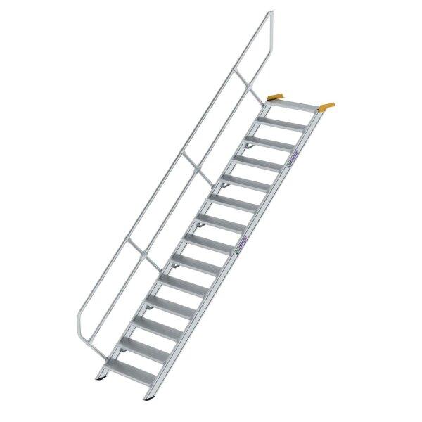 Treppe 45° Stufenbreite 800 mm 14 Stufen Aluminium geriffelt