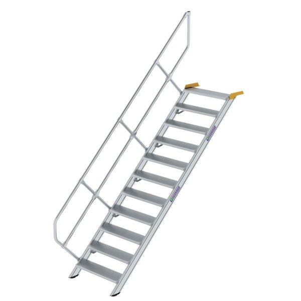Treppe 45° Stufenbreite 800 mm 11 Stufen Aluminium geriffelt