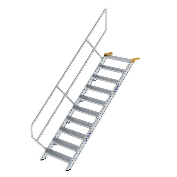 Treppe 45° Stufenbreite 800 mm 10 Stufen Aluminium geriffelt