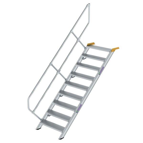 Treppe 45° Stufenbreite 800 mm 9 Stufen Aluminium geriffelt