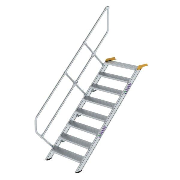 Treppe 45° Stufenbreite 800 mm 8 Stufen Aluminium geriffelt