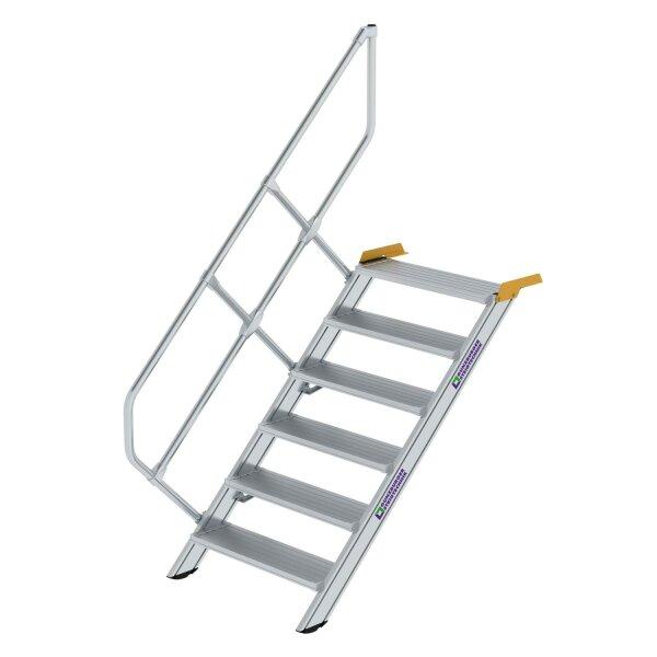 Treppe 45° Stufenbreite 800 mm 6 Stufen Aluminium geriffelt