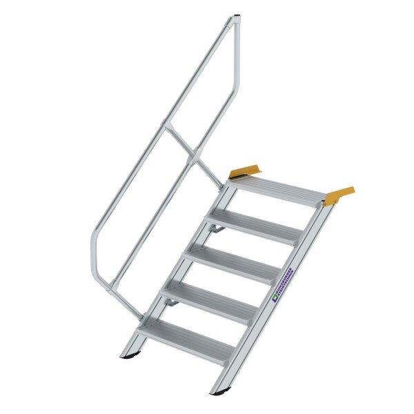 Treppe 45° Stufenbreite 800 mm 5 Stufen Aluminium geriffelt