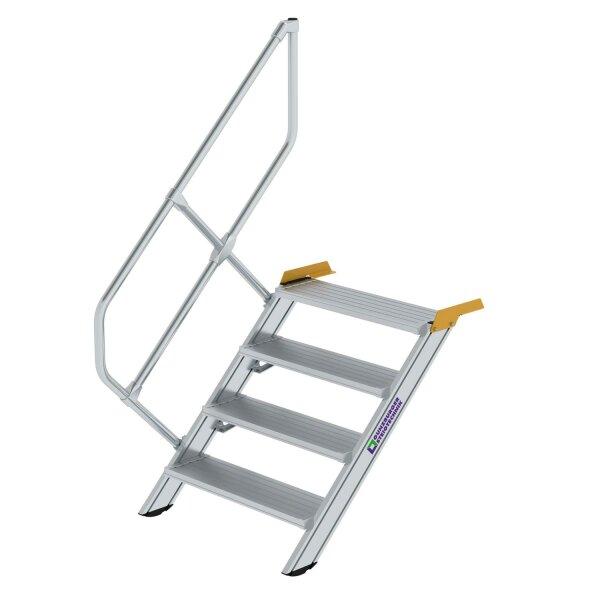 Treppe 45° Stufenbreite 800 mm 4 Stufen Aluminium geriffelt